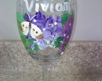 Hand Painted, personalized Wine Glasses for brides, grooms, bridal party, mother of the bride (with personalized secret message inside)