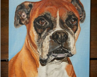 Boxer Dog Oil Painting 8x10 on canvas