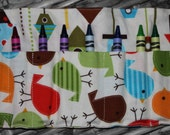 Crayon Roll with Button Closure - Urban Zoologie Birds and Urban Zoologie Birdhouse fabric