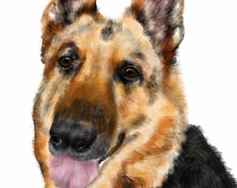 Custom Dog Portrait, custom portrait, pet portrait, dog lover, dog art, pet memorial, dog memorial, artwork, German shepherd, wall art