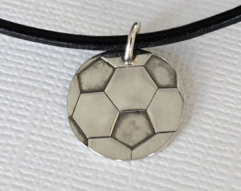 Hand-Stamped Soccer Ball Necklace- Unique Soccer Gift