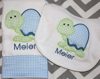 Monogrammed Baby Burp Cloth and Personalized Bib Set