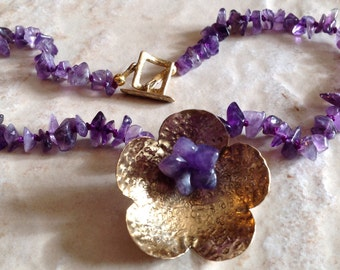 Handmade Amethyst And Brass Necklace