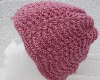 Hat pink wool beanie vintage hat handmade womans beanie hand knit hat teens beanie 90s winter knit beanie ladies winter hat beanie.