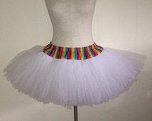 Adult Rainbow Pride White Wedding TuTu
