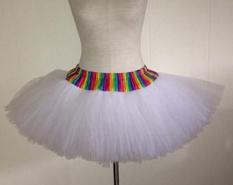 Adult Rainbow Pride White Wedding Color Run TuTu