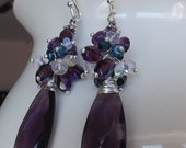 Faceted Pear Amethyst Gemstone Earrings with Cluster Top In Sterling Silver