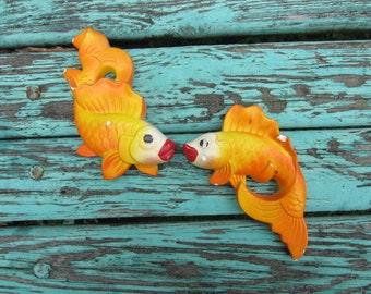 Vintage Orange Miller Studio Chalkware Kissing Fish