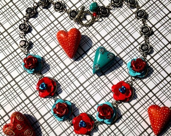 Rose Garden Turquoise and Crimson Red  Metal Roses Pin Up Girl Necklace