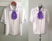 Purple and White Tie Neck Secretary Blouse
