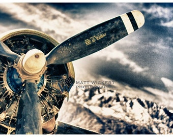 Aviation Photography, Vintage DC-3 Engine, Metallic Print