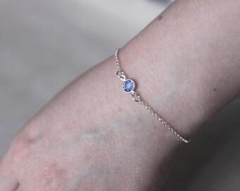 Sapphire Birthstone Bracelet, September Birthstone Bracelet, Any month charm, Swarovski Crystal Bracelet, Sterling Silver, Crystal Bracelet