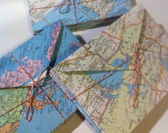 Set of 10 Vintage Atlas Page Envelopes