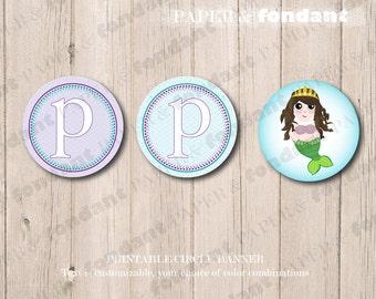 PRINTABLE BANNER - Mermaid circle banner