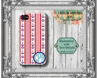 Preppy Anchors and Stripes Monogram iPhone Case, Personalized iPhone Case, iPhone 4, iPhone 4s, iPhone 5, iPhone 5s, iPhone 5c, iPhone 6