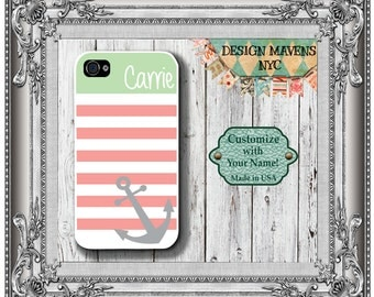 Preppy Anchor Stripe iPhone Case, Personalized iPhone Case, iPhone 4, iPhone 4s, iPhone 5, iPhone 5s, iPhone 5c, iPhone 6
