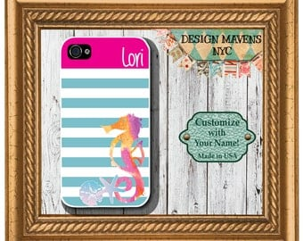 Preppy Seahorse Stripe Monogram iPhone Case, Personalized iPhone Case, iPhone 4,4s, iPhone 5, 5s, 5c, iPhone 6, Phone Cover, Phone Case