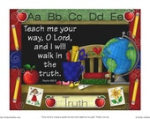 "INSTANT DOWNLOAD Printable Inspirational Illustration - ""Teach Me Your Way, O Lord""  Teacher, Encouragement, School Days"