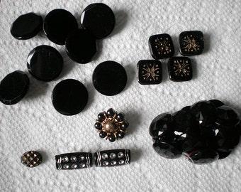 Lot of  Vintage Black Buttons