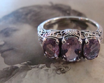 Lovely Sterling Silver Amethyst  3 stone filigree  Ring  Size 6 1/2