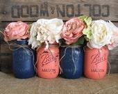 SALE!!! Set of 4 Pint Mason Jars, Ball jars, Painted Mason Jars, Rustic Wedding Centerpieces, Navy Blue And Dark Coral Mason Jars