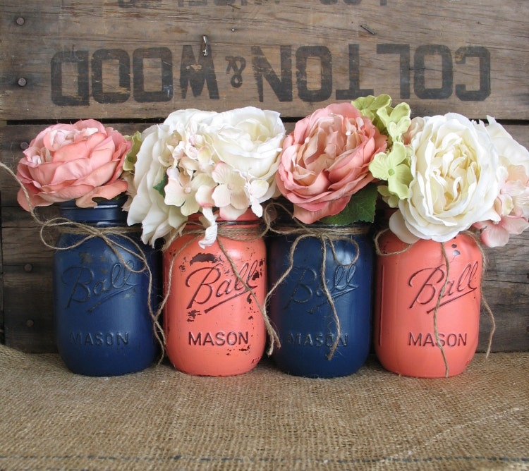Blue Mason Jars Wedding Ideas: SALE Set Of 4 Pint Mason Jars Ball Jars By RusticGlamDesigns