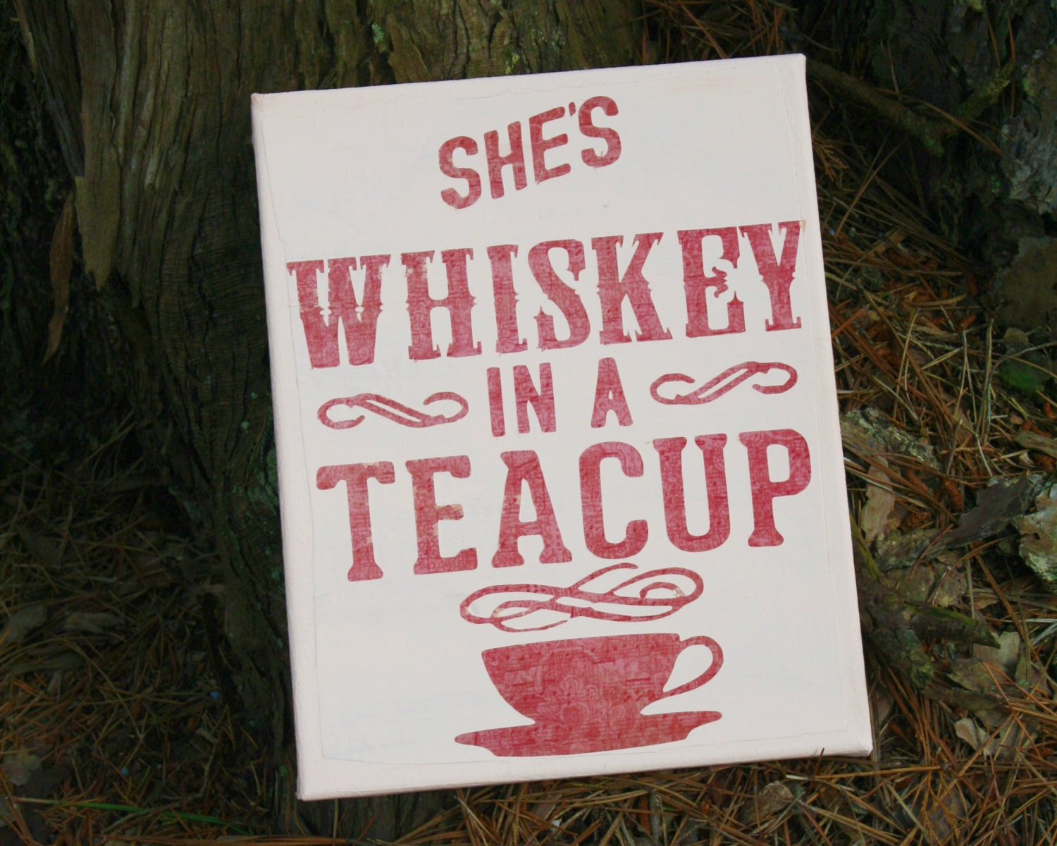 Cup Half Full Quotes: She's Whiskey In A Teacup Canvas Quote Art Country