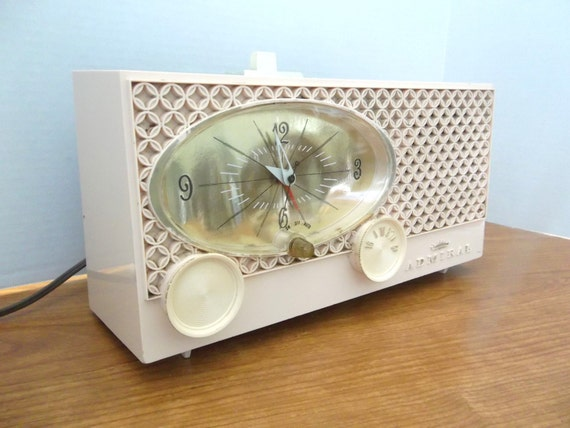 Mid Century Clock AM Tube Radio MODERN eames - Vintage Admiral Imperial Pink Clock Radio - Vintage Clock Radio Admiral Pink  Mad Men Style