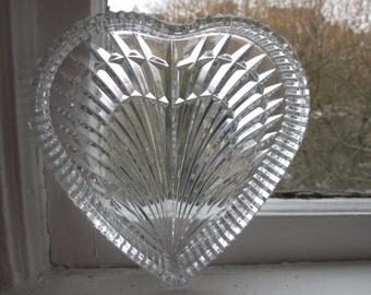 Heavy Cut Glass Heart Dish