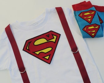 Custom Boutique Superman Inspired T Shirt with Suspenders Only