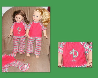 Doll clothes   add on a machine embroidered letter or name.