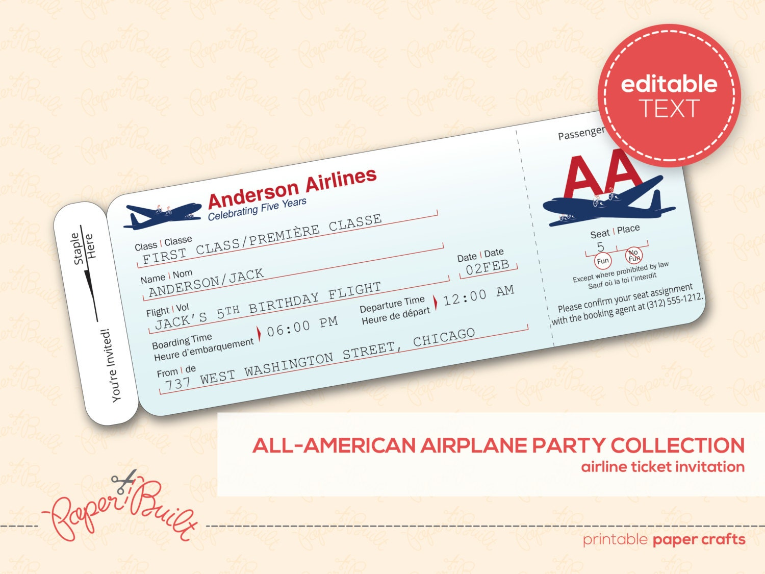Plane Ticket Template For Kids Printable airplane party