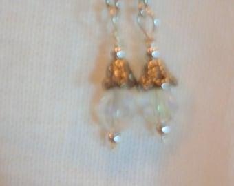 clear crystal Earrings -  ladies earrings -  silver Caps - dangle earrings - Wedding Jewelry - Bridesmaid Gift