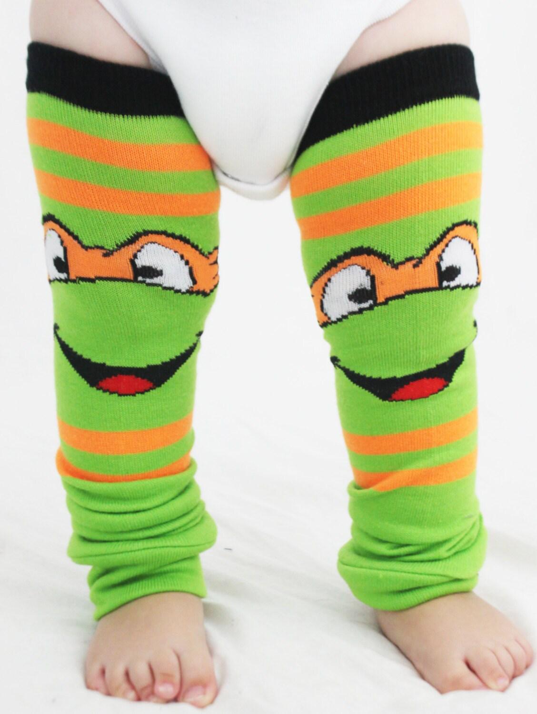 Baby to Toddler Ninja Turtle Baby Leg Warmers Michaelangelo