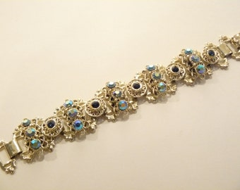 Gorgeous Vintage AB Rhinestone Bookchain Bracelet