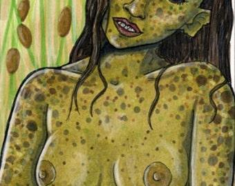 "original ACEO art card 2,5""x3,5"" 6,4x8,9cm collector card - folklore mythology legendary figure - nude"