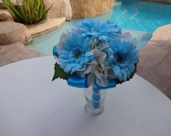 Bridesmaid bouquet in hydrangea and gerber daisy- trimmed in Pool or Malibu blue