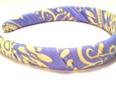 Fabric Headband - Periwinkle and Yellow - Womens Headband - Hair Accessories - Girls Headband - Head Bands