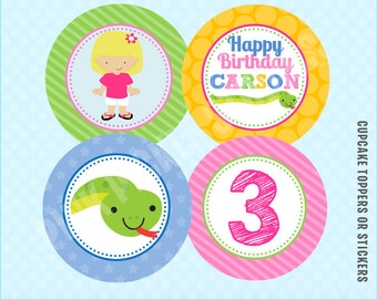 Snake Cupcake Toppers, DIY Cupcake Toppers, Printable Cupcake Toppers, Party Circles :No.187
