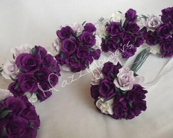 Bridal bouquet,paper flower,bridesmaids bouquet,wedding bouquet,paper flower bouquet,paper flower rose,rose purple,bridal flower,bouquet