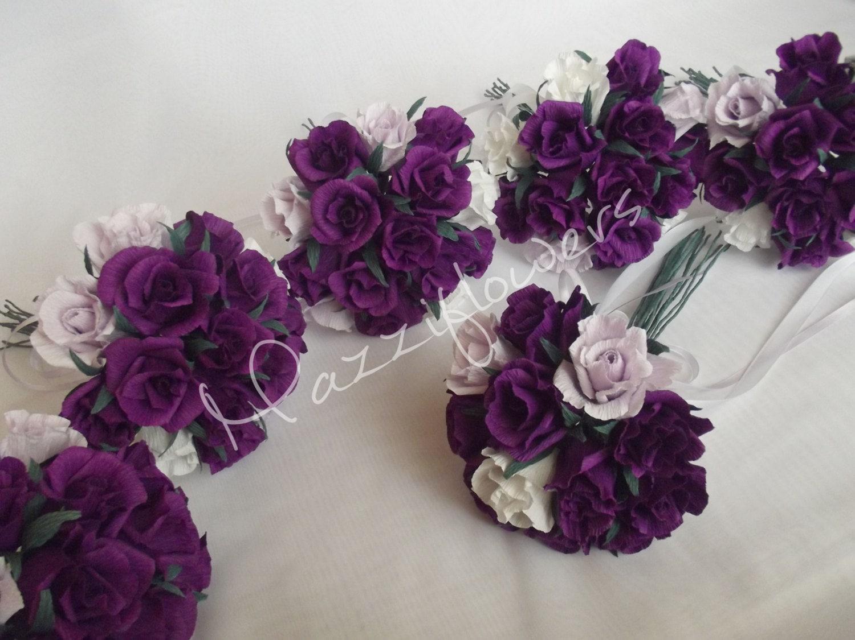 Bridesmaid Flowers Purple : Bridal bouquetpaper flowerbridesmaids bouquetwedding