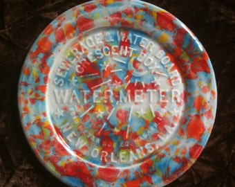 New Orleans Water Meter multi color handmade Pottery Souvenir Plate