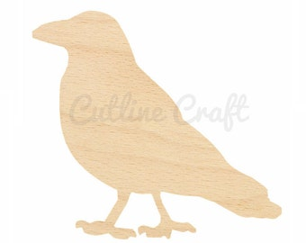 Crow Cutout 71 Crafts, Gift Tags Ornaments Laser Cut Birch Wood Various Sizes