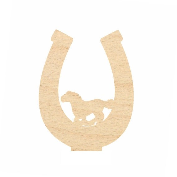 Horse shoe cutout crafts gift tags ornaments laser cut birch for Wooden horseshoes for crafts