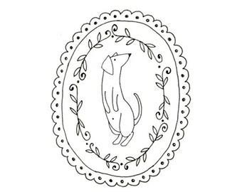 Hand Embroidery Dachshund Dog Wiener Dog Pattern Printable Sausage Animal Digital Downloadable 0079