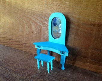 Small Scale Vanity and Stool ~ Miniature Dollhouse Furniture ~ Turquoise & Aqua Beach House or Coastal Cottage Doll ~ Dresser and Bench Set