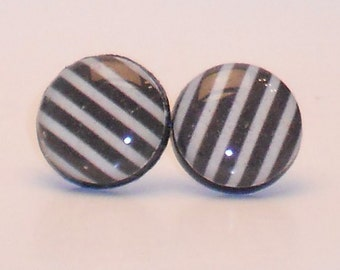 Black and Stripes Post Earrings