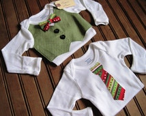 Twin Christmas Vest & Tie Onesies, Twin Christmas Onesies, Twin Holiday Onesies, Baby Bow Tie, Baby Bowtie Onesie, Baby Boy Christmas