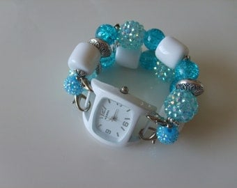 Double Stranded Interchangeable Aqua Blue & White Beaded Watch Band Set (160)
