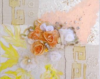 "Picture ""Fantasia"",mix of tecnic, fiberart, fabric decore, 3D picture, panel decorative"
